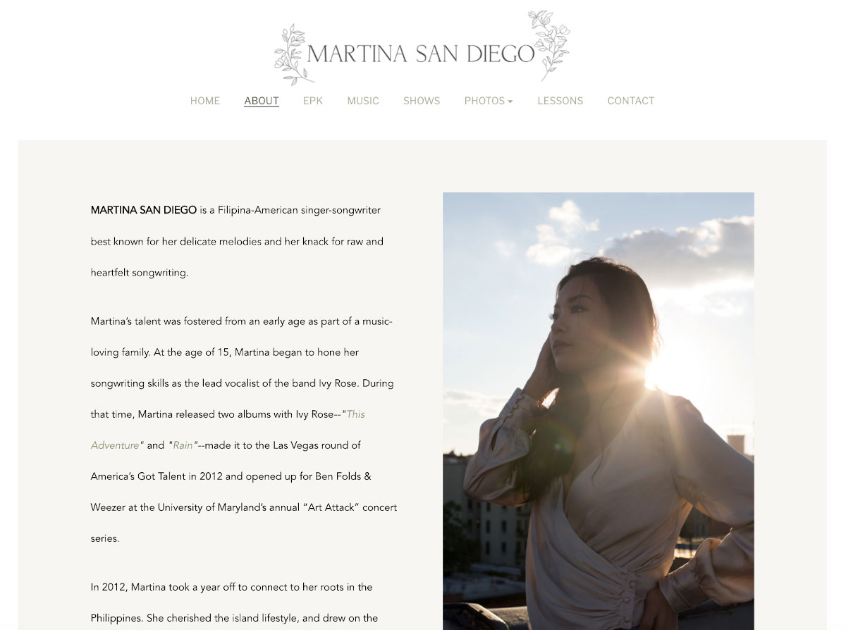 How to design a great singer songwriter website About page
