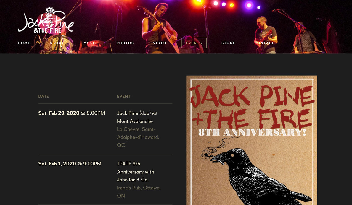 How to design a great singer songwriter website Shows page