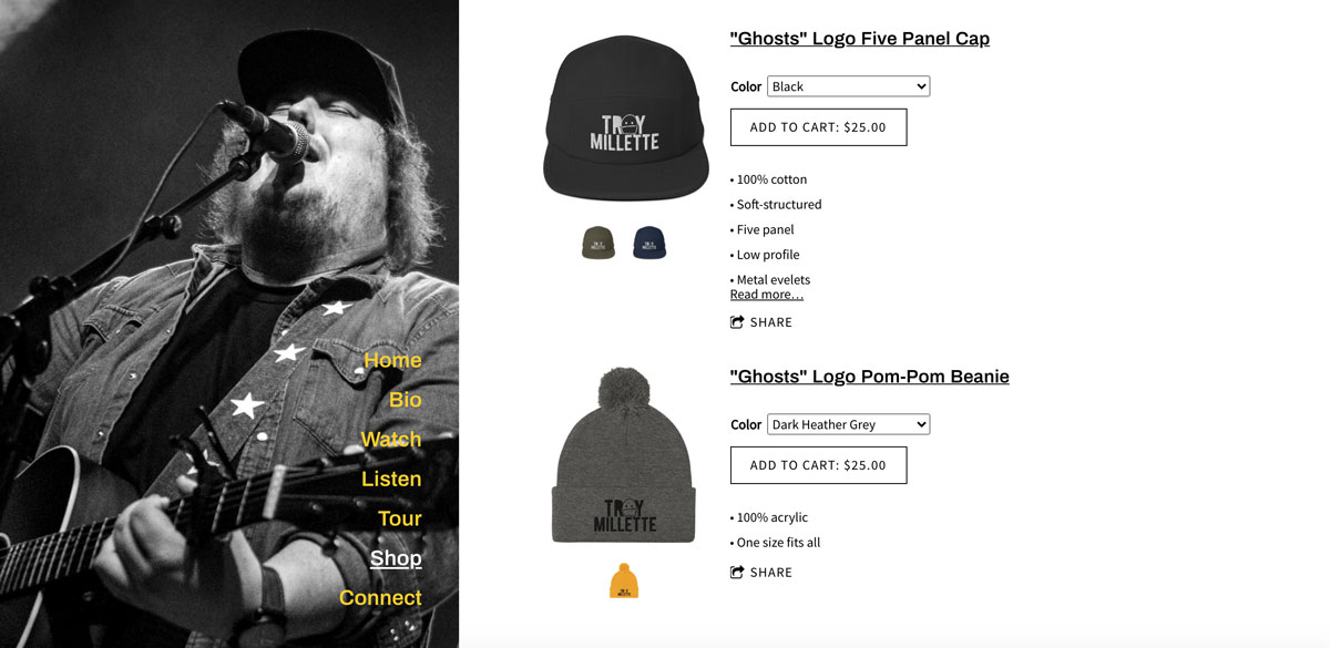 Selling band merch online hats example