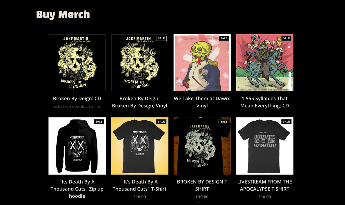 Selling band merch online example