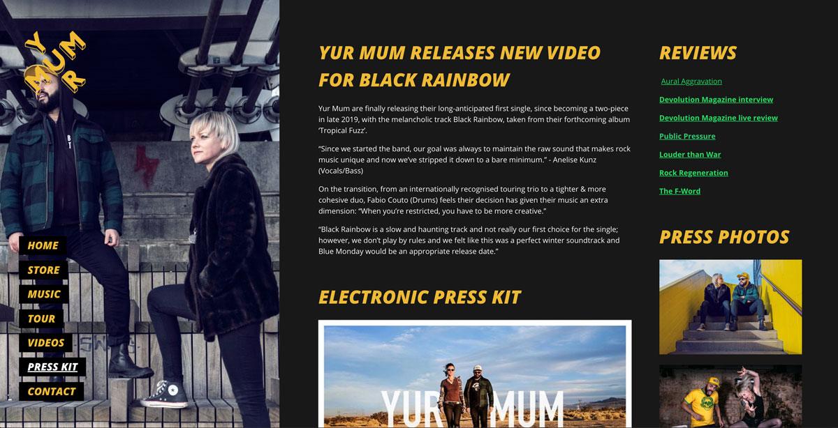 Website design inspiration: best electronic press kits
