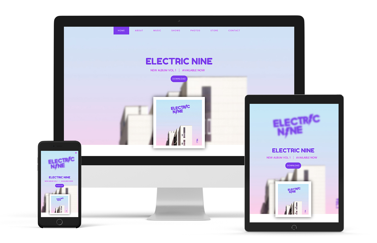 Website template example pop band