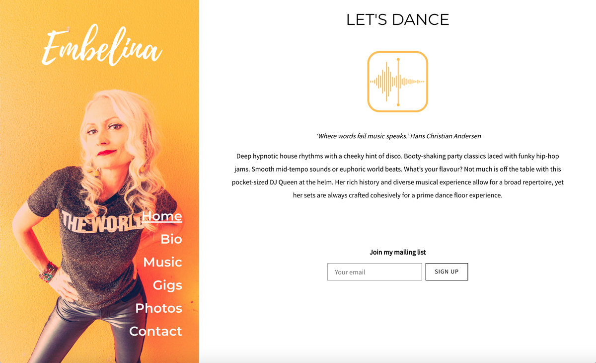 5 best website templates for DJs example