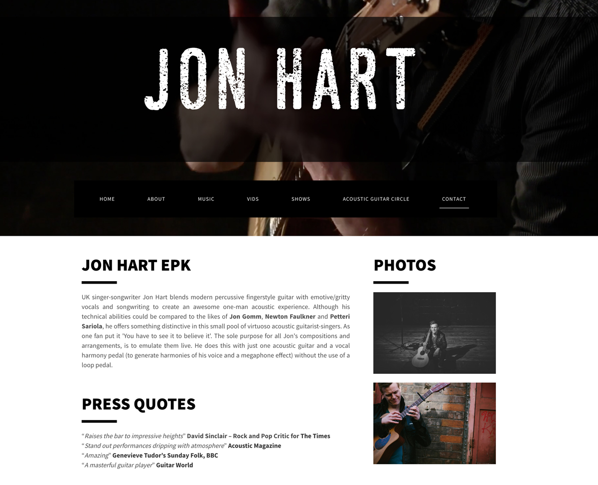 Best website templates for guitarists