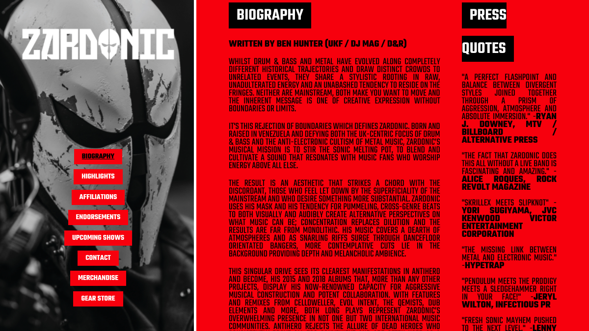 How to design a great metal band website - biography and about page - Zardonic