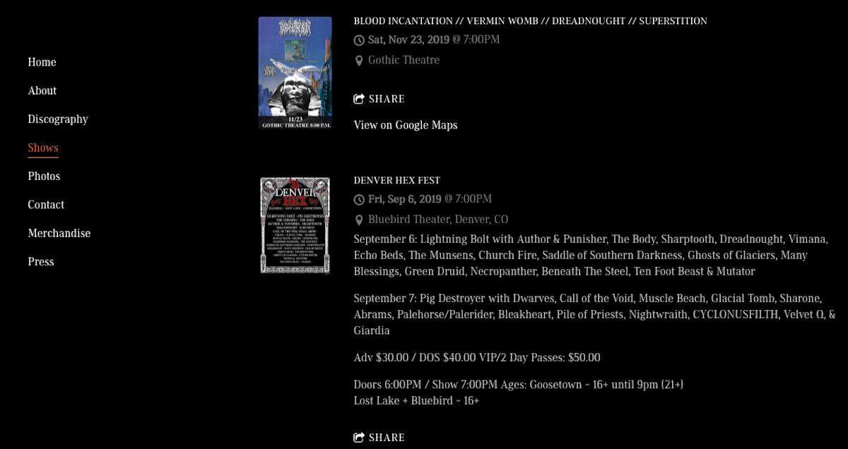 How to design a great metal band website - Events page - Dreadnought