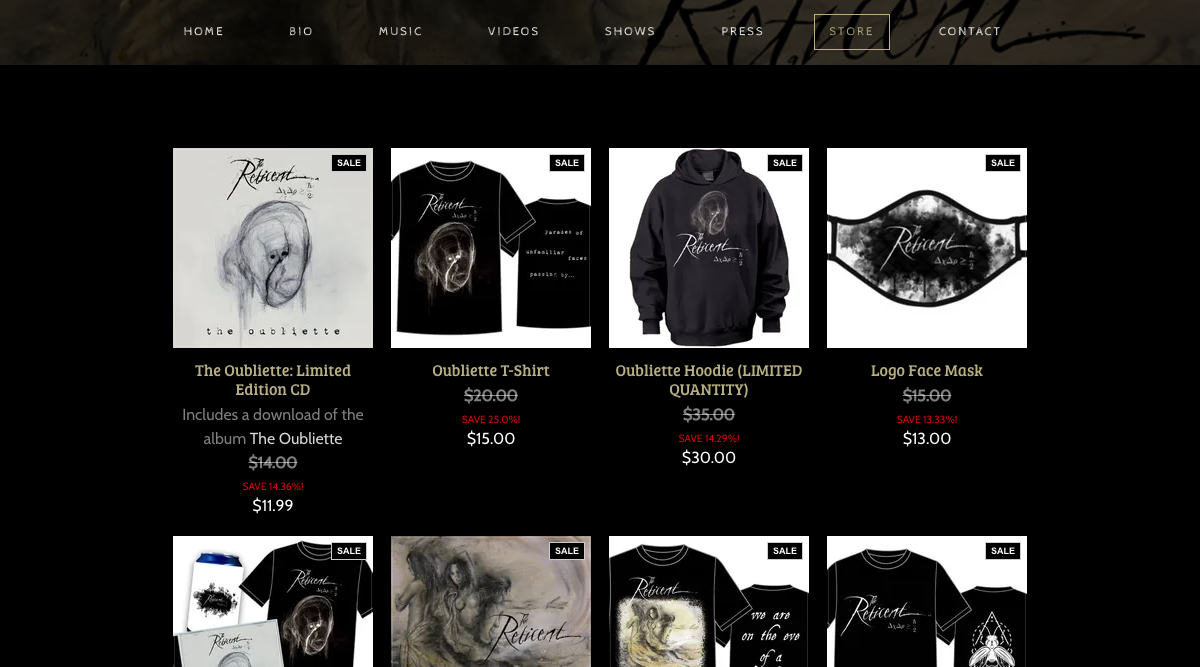 How to design a great metal band website - Sell music and merch - The Reticent