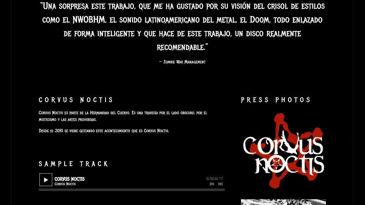 How to design a great metal band website - EPK - Corvus Noctis