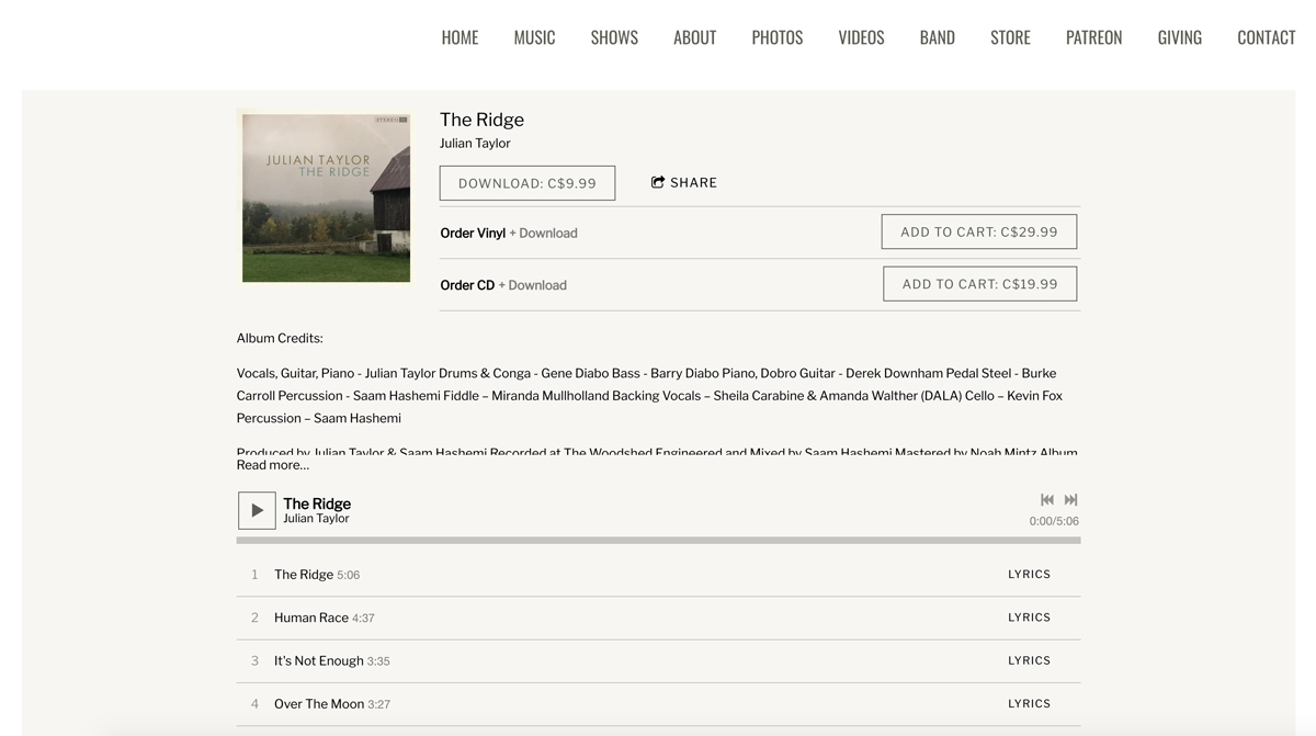Bandzoogle Blog - 11 ways to use the music feature - Julian Taylor