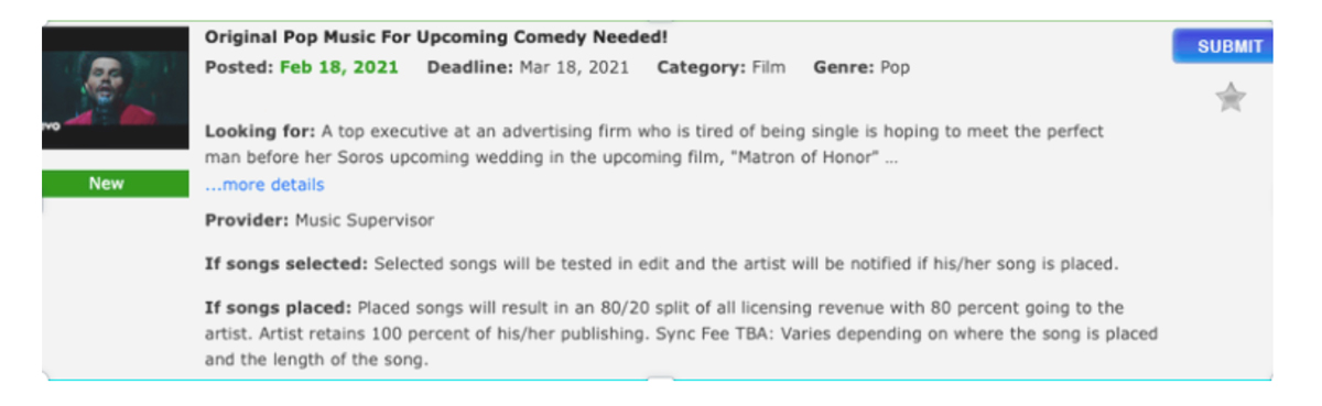 BZ Blog - 5 ways to prep your song for a licensing pitch - call sheet