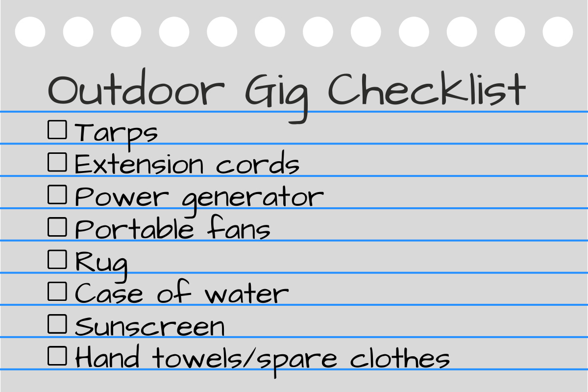 How to prepare for performing outdoor gigs checklist