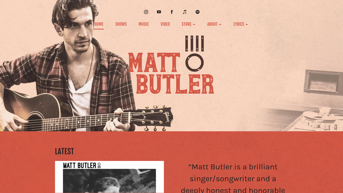 5 best website templates for country artists - Meridian
