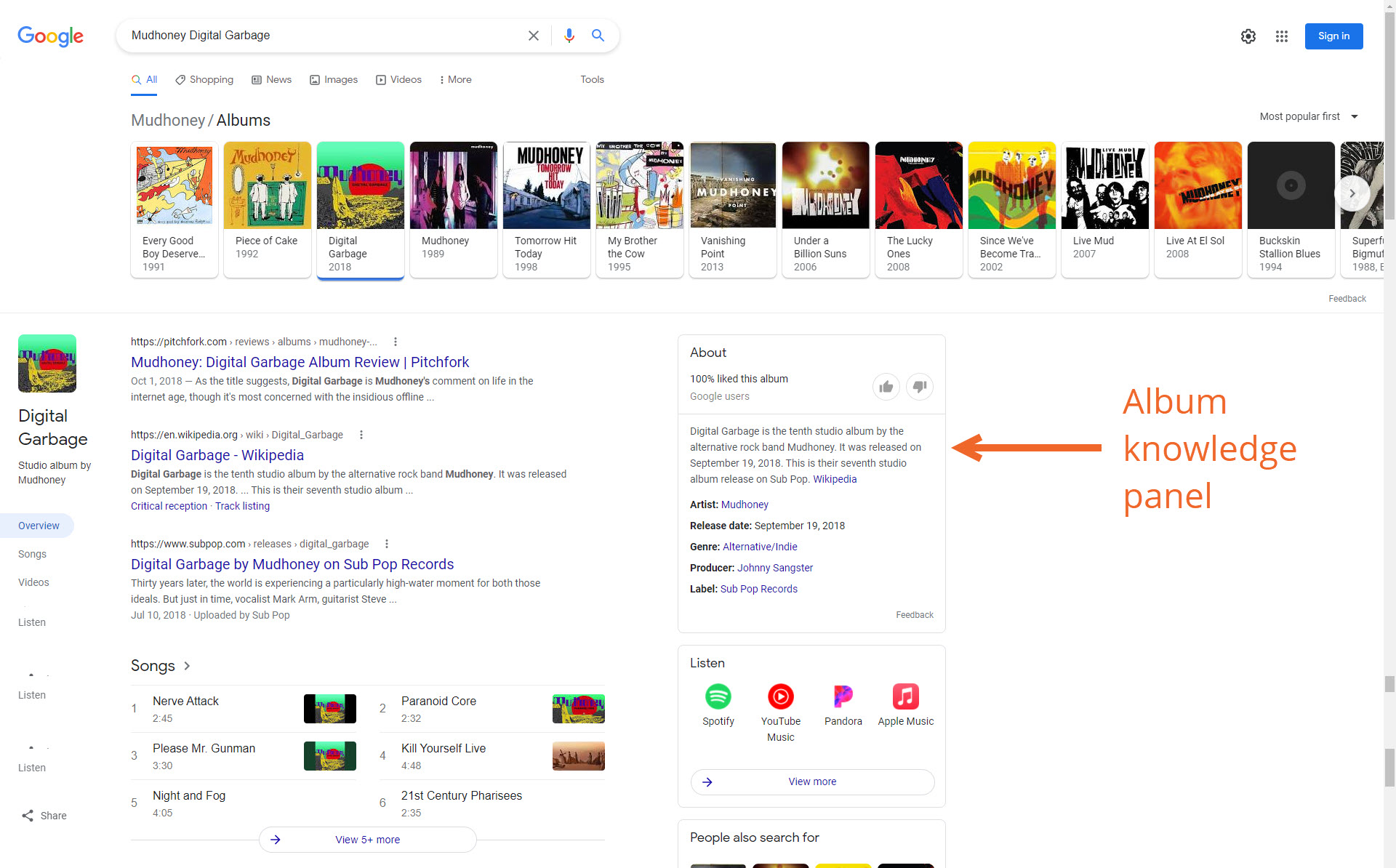 Bandzoogle Blog - Music SEO Know Your SERPS - Specific Album