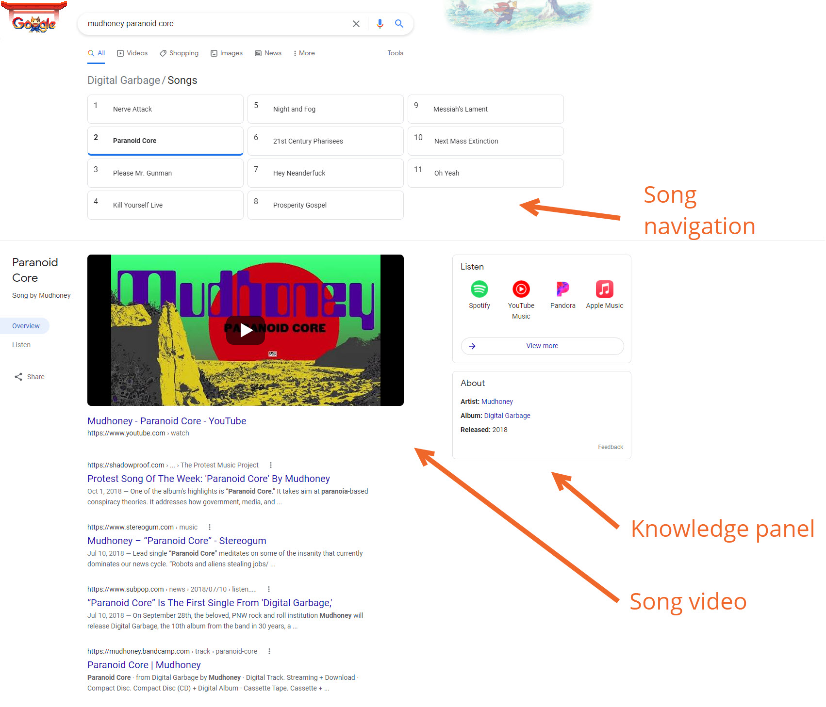 Bandzoogle Blog - Music SEO Know Your SERPs - Song Results
