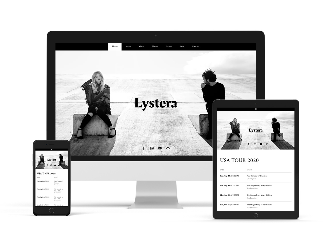 Music website template example neutral