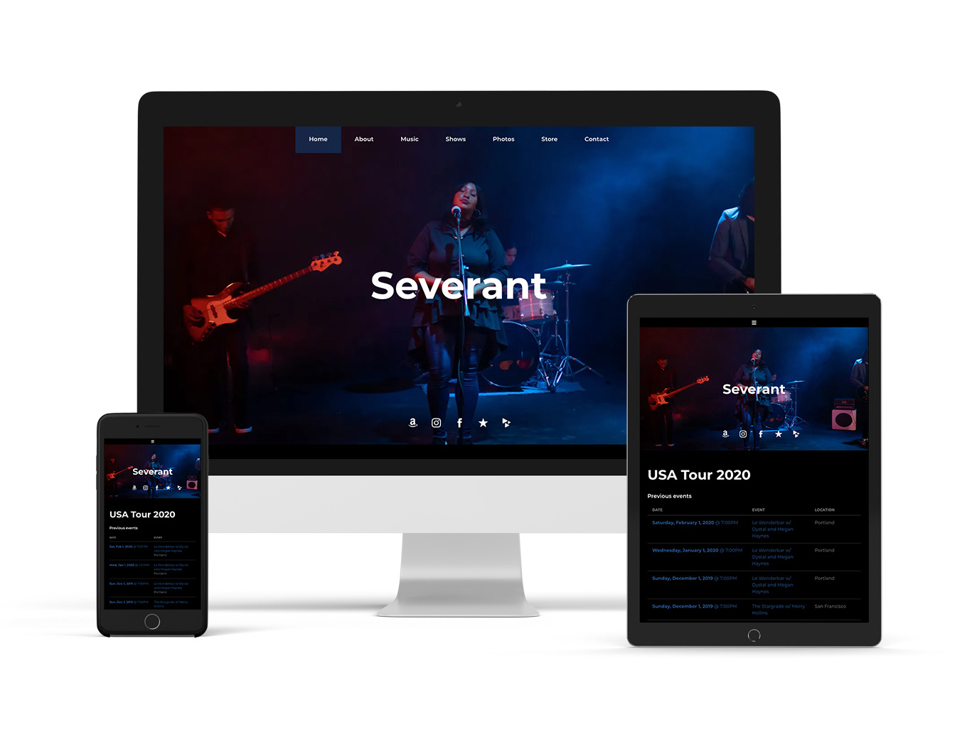 Band website template sombre style example